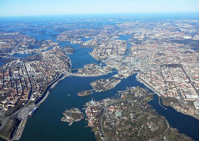 Flygbild över Stockholm